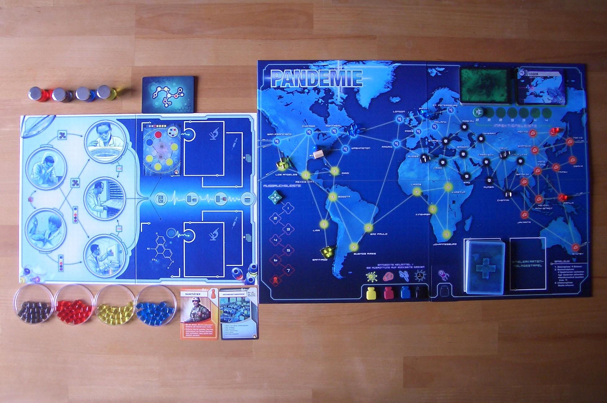 Pandemie Spielauslage